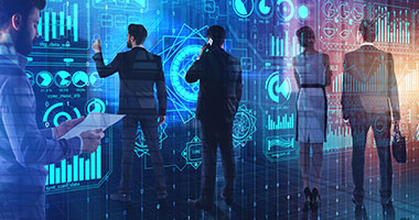 futuristic view of business people sharing information with background of computer code and glass screens