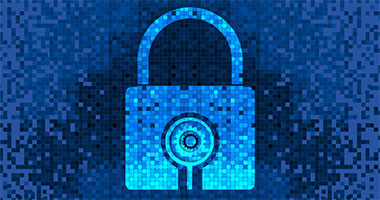 graphic of lock created with variations of blue pixels