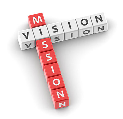 small lettered blocks spelling out mission and vision