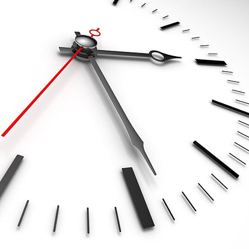 black and white clock with red second hand