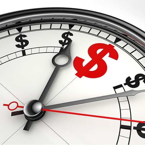 black and white compass with dollar signs at intervals rather than directions, and north is represented with larger red dollar sign